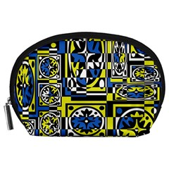 Blue and yellow decor Accessory Pouches (Large)
