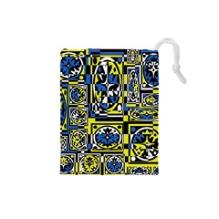 Blue and yellow decor Drawstring Pouches (Small)