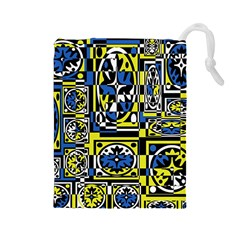 Blue and yellow decor Drawstring Pouches (Large)