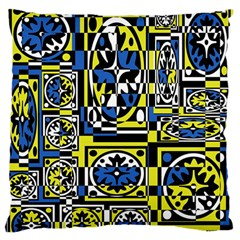 Blue and yellow decor Large Flano Cushion Case (Two Sides)