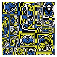Blue and yellow decor Large Satin Scarf (Square)