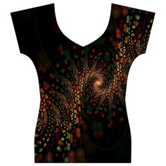 Multicolor Fractals Digital Art Design Women s V-Neck Cap Sleeve Top