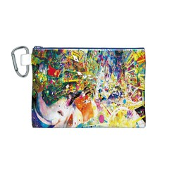 Multicolor Anime Colors Colorful Canvas Cosmetic Bag (M)