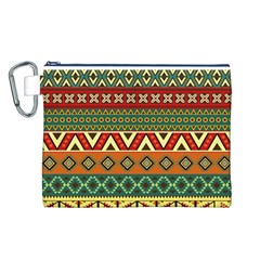 Mexican Folk Art Patterns Canvas Cosmetic Bag (L)