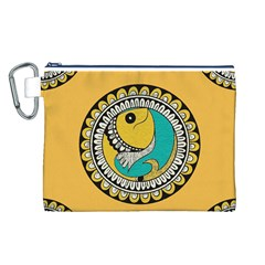 Madhubani Fish Indian Ethnic Pattern Canvas Cosmetic Bag (L)