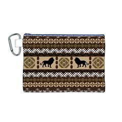 Lion African Vector Pattern Canvas Cosmetic Bag (M)