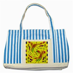 Leaf And Rainbows In The Wind Striped Blue Tote Bag