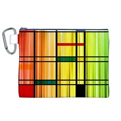 Line Rainbow Grid Abstract Canvas Cosmetic Bag (XL)
