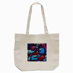 Deep Wow Purple Cartoons Tote Bag (Cream)