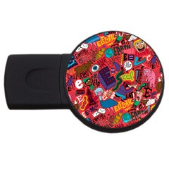 E Pattern Cartoons Usb Flash Drive Round (4 Gb)