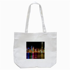 Light Water Cityscapes Night Multicolor Hong Kong Nightlights Tote Bag (White)