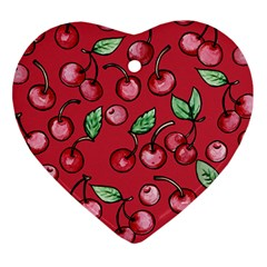 Cherry Cherries For Spring Heart Ornament (2 Sides)