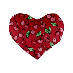 Cherry Cherries For Spring Standard 16  Premium Flano Heart Shape Cushions