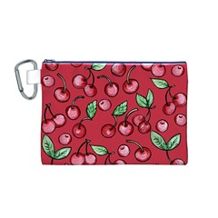 Cherry Cherries For Spring Canvas Cosmetic Bag (M)