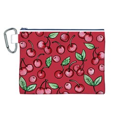 Cherry Cherries For Spring Canvas Cosmetic Bag (L)