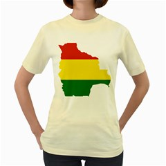 Flag Map Of Bolivia Women s Yellow T Shirt