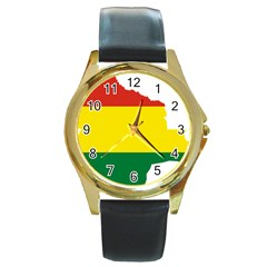 Flag Map Of Bolivia Round Gold Metal Watch