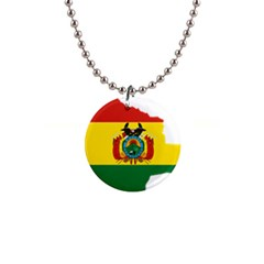 Flag Map Of Bolivia  Button Necklaces