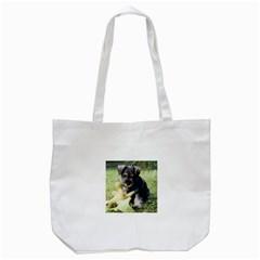Puppy 2 Mini Schnauzer Tote Bag (White)