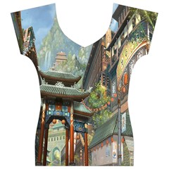 Japanese Art Painting Fantasy Women s V-Neck Cap Sleeve Top