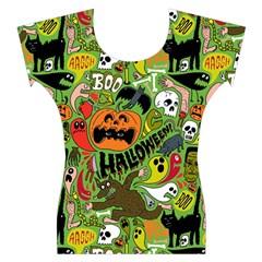 Halloween Pattern Women s Cap Sleeve Top