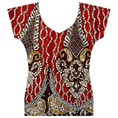 Indian Traditional Art Pattern Women s V-Neck Cap Sleeve Top
