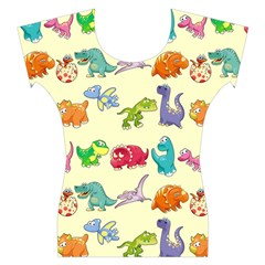 Group Of Funny Dinosaurs Graphic Women s Cap Sleeve Top