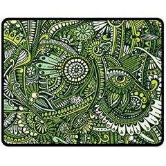 Green Boho Flower Pattern Zz0105 Double Sided Fleece Blanket (medium)