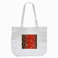 Golden Swirls Floral Pattern Tote Bag (White)