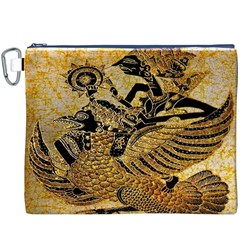Golden Colorful The Beautiful Of Art Indonesian Batik Pattern Canvas Cosmetic Bag (XXXL)