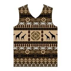 Giraffe African Vector Pattern Men s Basketball Tank Top