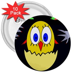Chicken 3  Buttons (10 pack)