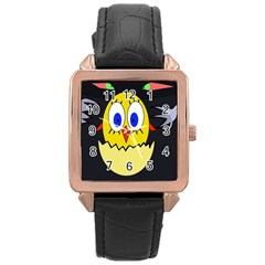 Chicken Rose Gold Leather Watch
