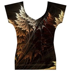 Fractalius Abstract Forests Fractal Fractals Women s V-Neck Cap Sleeve Top