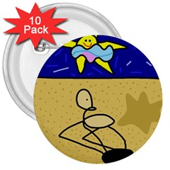 Sunbathing 3  Buttons (10 pack)