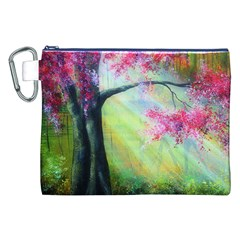 Forests Stunning Glimmer Paintings Sunlight Blooms Plants Love Seasons Traditional Art Flowers Sunsh Canvas Cosmetic Bag (XXL)