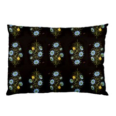 Blue Flowers on Black Pillow Case