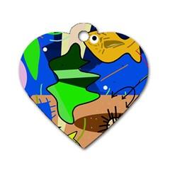 Aquarium  Dog Tag Heart (One Side)