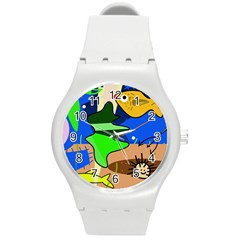 Aquarium  Round Plastic Sport Watch (M)