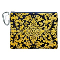Flower Pattern In Traditional Thai Style Art Painting On Window Of The Temple Canvas Cosmetic Bag (XXL)