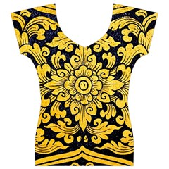 Flower Pattern In Traditional Thai Style Art Painting On Window Of The Temple Women s V-Neck Cap Sleeve Top
