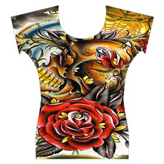 Flower Art Traditional Women s Cap Sleeve Top