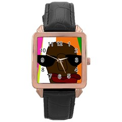 Cool Rose Gold Leather Watch