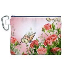 Floral Butterfly Roses Canvas Cosmetic Bag (XL)
