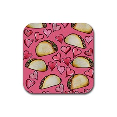 Taco Tuesday Lover Tacos Rubber Square Coaster (4 Pack)