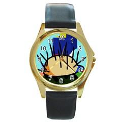 Hedgehog Round Gold Metal Watch