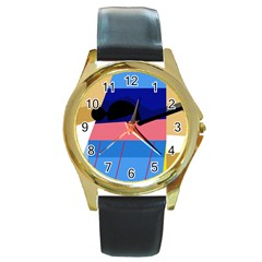 Jumping Round Gold Metal Watch