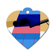 Jumping Dog Tag Heart (One Side)