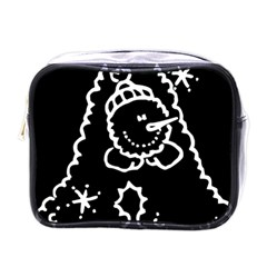 Funny Snowball Doodle Black White Mini Toiletries Bags