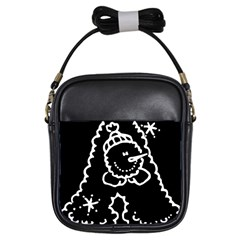 Funny Snowball Doodle Black White Girls Sling Bags
